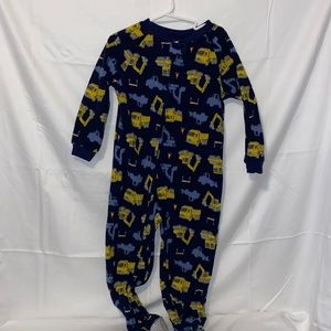Construction truck footed pajama